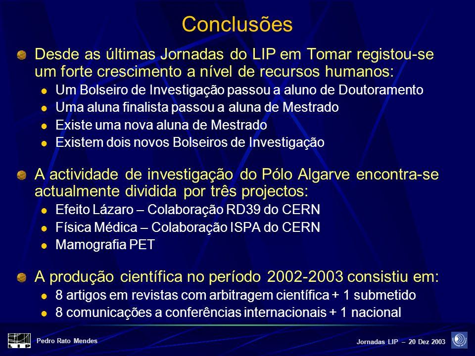 Pedro Rato Mendes Jornadas LIP – 20 Dez 2003 Conclusões Desde as últimas Jornadas do LIP em Tomar registou-se um forte crescimento a nível de recursos