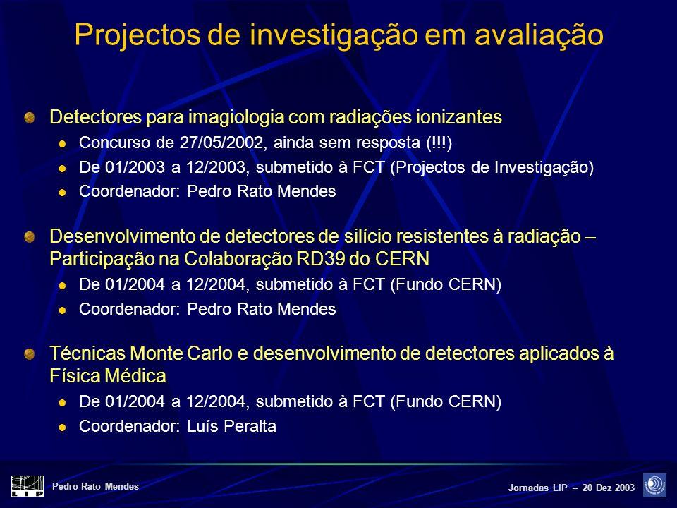 Pedro Rato Mendes Jornadas LIP – 20 Dez 2003 Projectos de investigação em avaliação Detectores para imagiologia com radiações ionizantes Concurso de 2