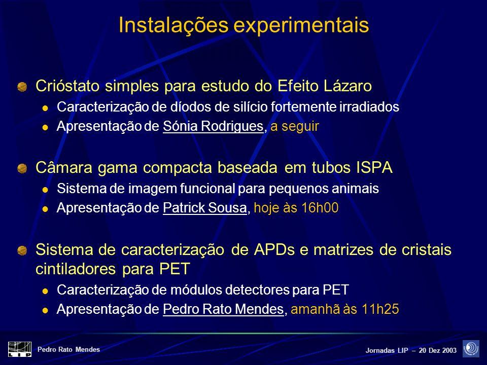 Pedro Rato Mendes Jornadas LIP – 20 Dez 2003 Instalações experimentais Crióstato simples para estudo do Efeito Lázaro Caracterização de díodos de silí