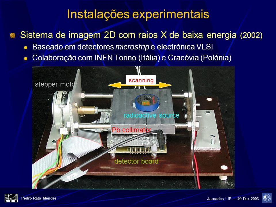 Pedro Rato Mendes Jornadas LIP – 20 Dez 2003 Instalações experimentais Sistema de imagem 2D com raios X de baixa energia (2002) Baseado em detectores