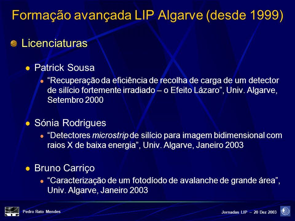 Pedro Rato Mendes Jornadas LIP – 20 Dez 2003 Formação avançada LIP Algarve (desde 1999) Licenciaturas Patrick Sousa Recuperação da eficiência de recol