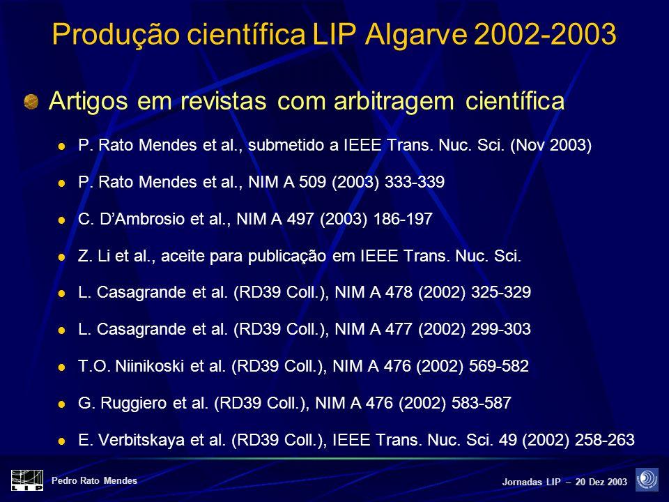 Pedro Rato Mendes Jornadas LIP – 20 Dez 2003 Produção científica LIP Algarve 2002-2003 Artigos em revistas com arbitragem científica P. Rato Mendes et