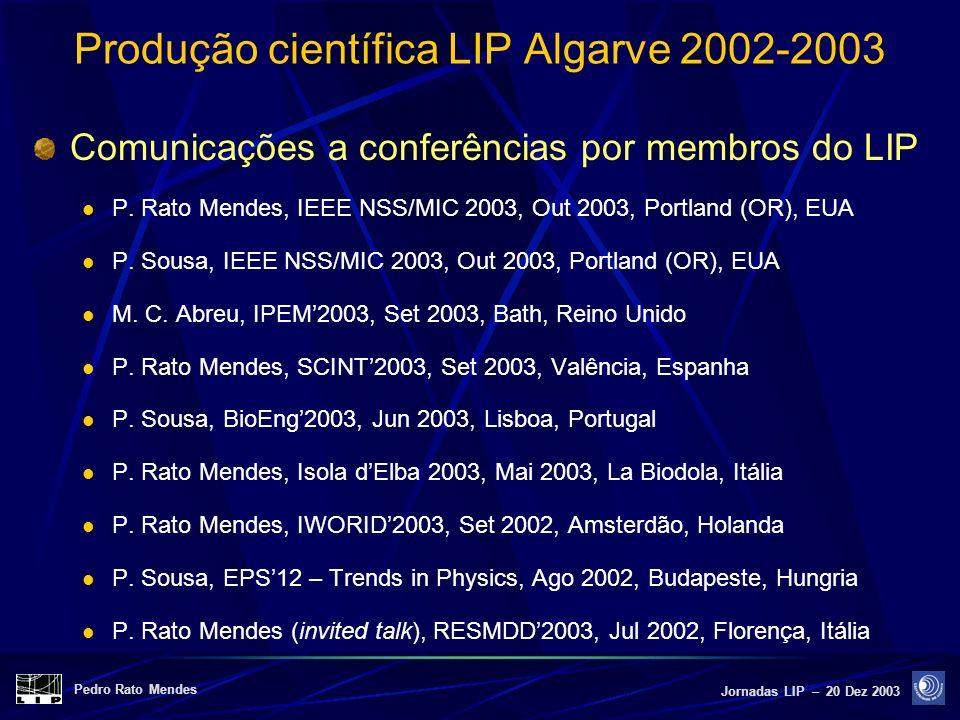 Pedro Rato Mendes Jornadas LIP – 20 Dez 2003 Produção científica LIP Algarve 2002-2003 Comunicações a conferências por membros do LIP P. Rato Mendes,