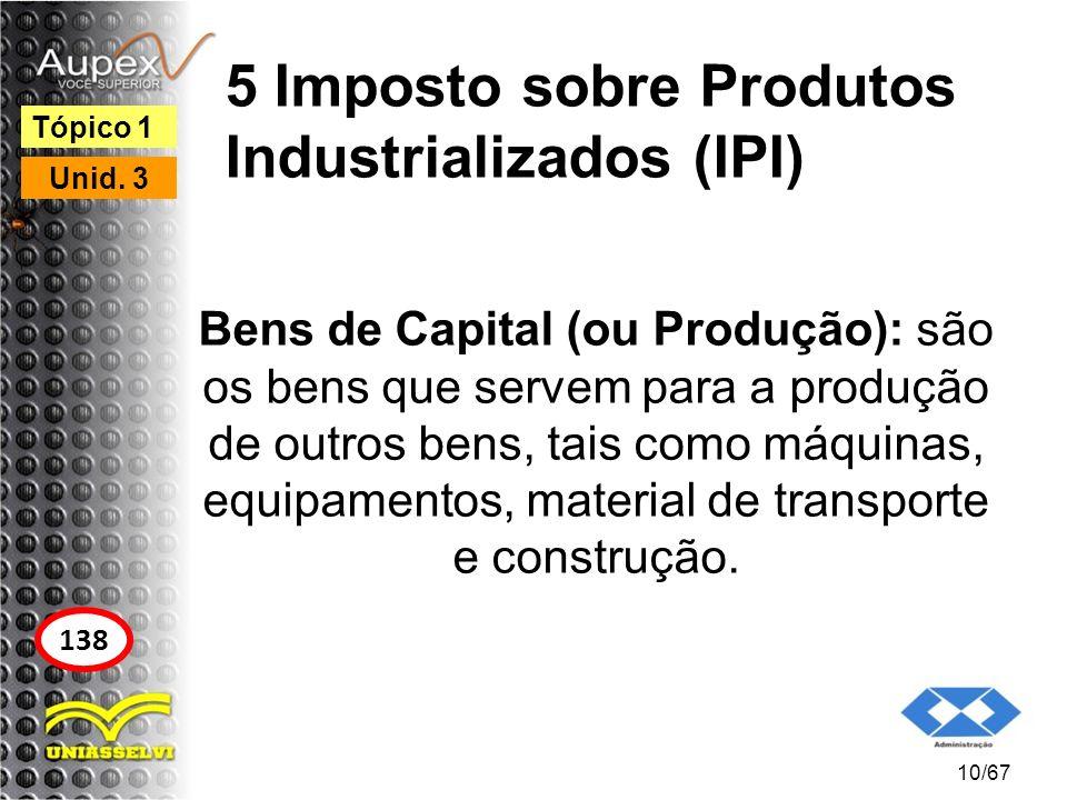 5 Imposto sobre Produtos Industrializados (IPI) Bens de Capital (ou Produção): são os bens que servem para a produção de outros bens, tais como máquin