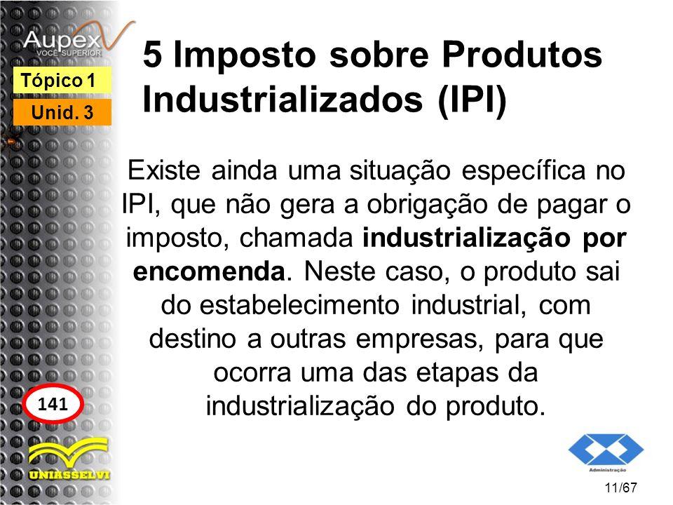 5 Imposto sobre Produtos Industrializados (IPI) Existe ainda uma situação específica no IPI, que não gera a obrigação de pagar o imposto, chamada indu