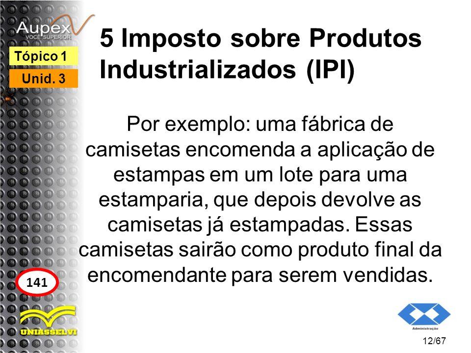 5 Imposto sobre Produtos Industrializados (IPI) Por exemplo: uma fábrica de camisetas encomenda a aplicação de estampas em um lote para uma estamparia