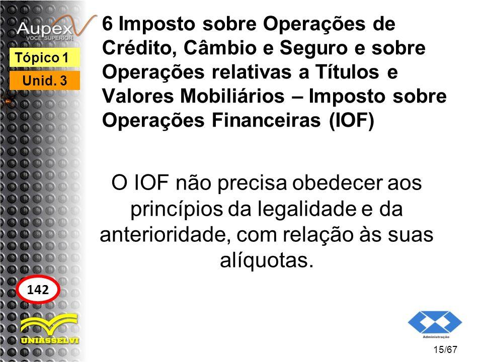 6 Imposto sobre Operações de Crédito, Câmbio e Seguro e sobre Operações relativas a Títulos e Valores Mobiliários – Imposto sobre Operações Financeira
