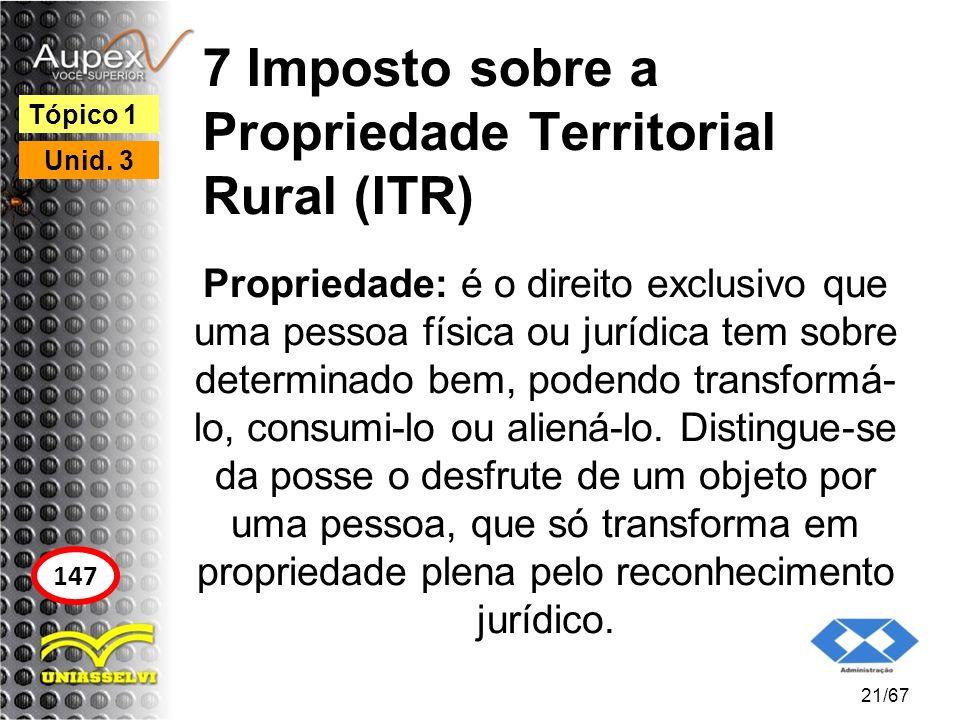 7 Imposto sobre a Propriedade Territorial Rural (ITR) Propriedade: é o direito exclusivo que uma pessoa física ou jurídica tem sobre determinado bem,