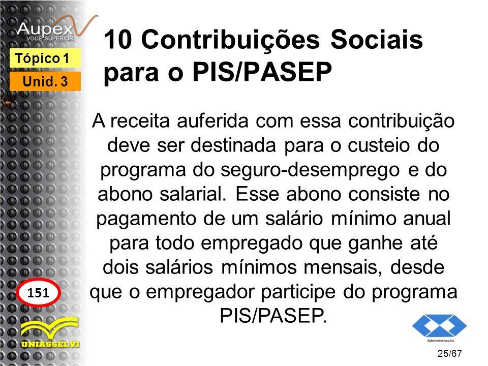 10 Contribuições Sociais para o PIS/PASEP A receita auferida com essa contribuição deve ser destinada para o custeio do programa do seguro-desemprego