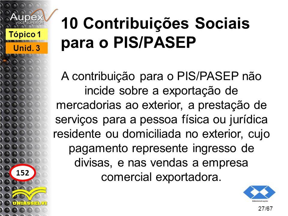 10 Contribuições Sociais para o PIS/PASEP A contribuição para o PIS/PASEP não incide sobre a exportação de mercadorias ao exterior, a prestação de ser