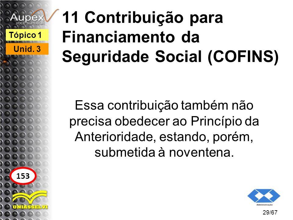 11 Contribuição para Financiamento da Seguridade Social (COFINS) Essa contribuição também não precisa obedecer ao Princípio da Anterioridade, estando,