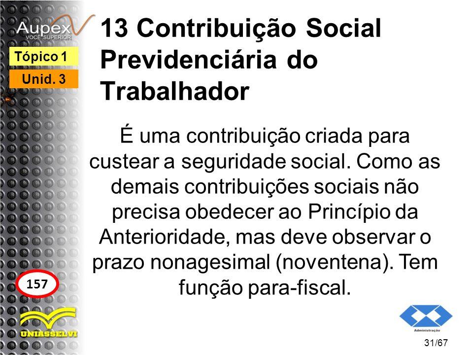 13 Contribuição Social Previdenciária do Trabalhador É uma contribuição criada para custear a seguridade social. Como as demais contribuições sociais