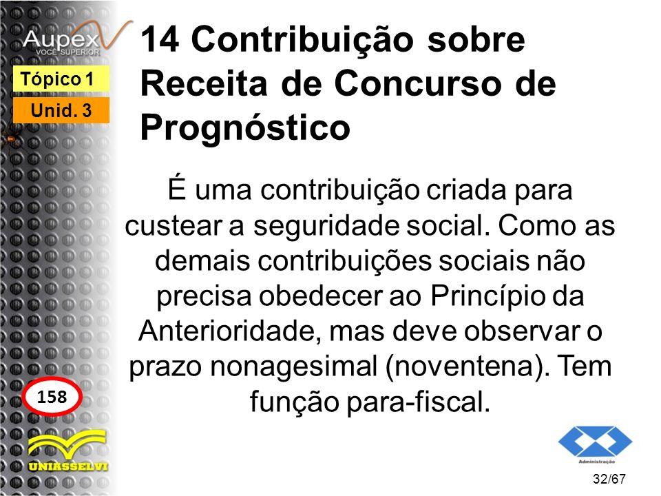 14 Contribuição sobre Receita de Concurso de Prognóstico É uma contribuição criada para custear a seguridade social. Como as demais contribuições soci