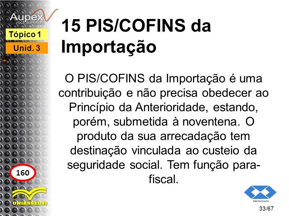 15 PIS/COFINS da Importação O PIS/COFINS da Importação é uma contribuição e não precisa obedecer ao Princípio da Anterioridade, estando, porém, submet