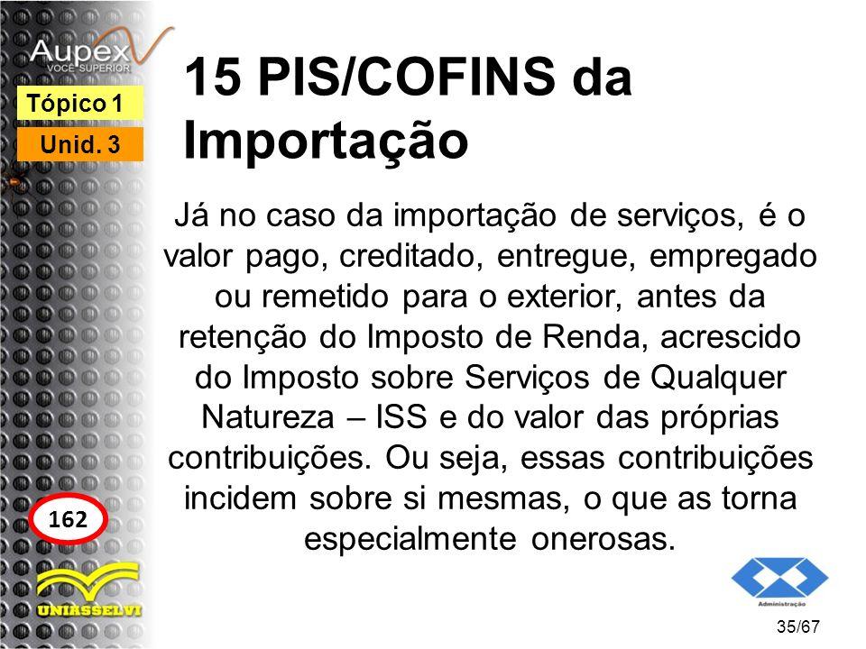15 PIS/COFINS da Importação Já no caso da importação de serviços, é o valor pago, creditado, entregue, empregado ou remetido para o exterior, antes da