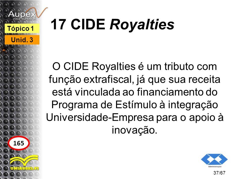 17 CIDE Royalties O CIDE Royalties é um tributo com função extrafiscal, já que sua receita está vinculada ao financiamento do Programa de Estímulo à i
