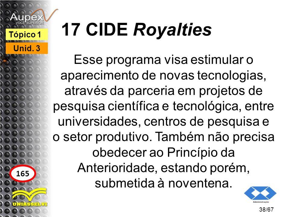 17 CIDE Royalties Esse programa visa estimular o aparecimento de novas tecnologias, através da parceria em projetos de pesquisa científica e tecnológi