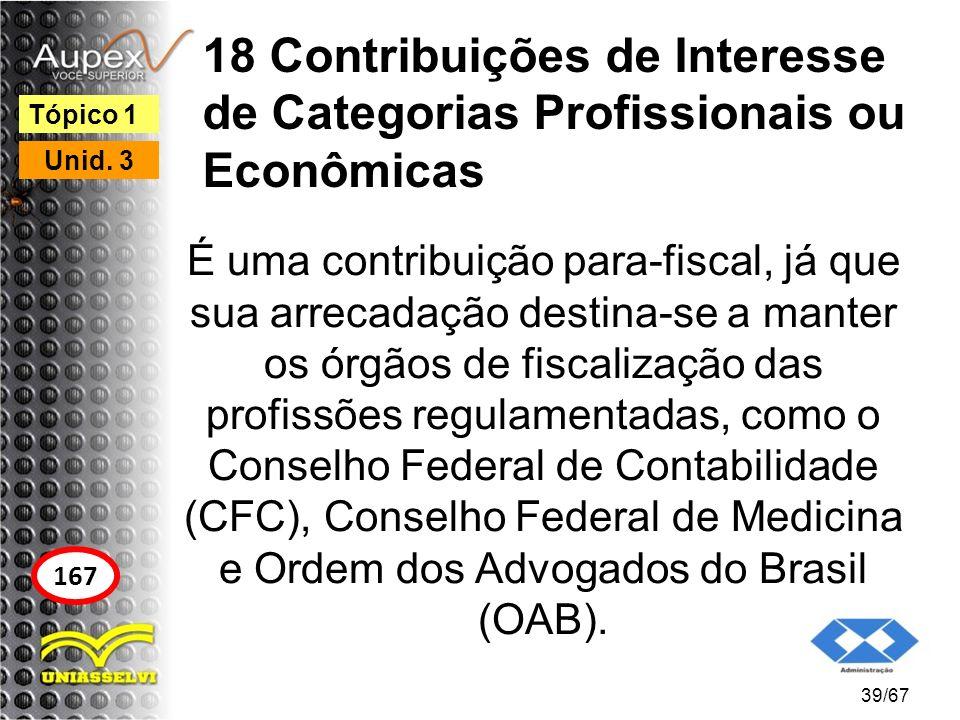 18 Contribuições de Interesse de Categorias Profissionais ou Econômicas É uma contribuição para-fiscal, já que sua arrecadação destina-se a manter os