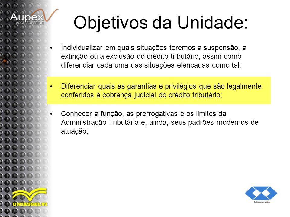 Objetivos da Unidade: Individualizar em quais situações teremos a suspensão, a extinção ou a exclusão do crédito tributário, assim como diferenciar ca
