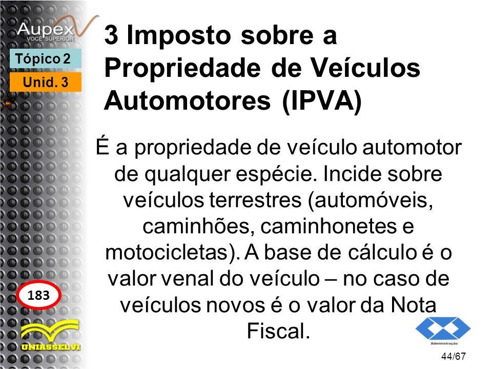 3 Imposto sobre a Propriedade de Veículos Automotores (IPVA) É a propriedade de veículo automotor de qualquer espécie. Incide sobre veículos terrestre