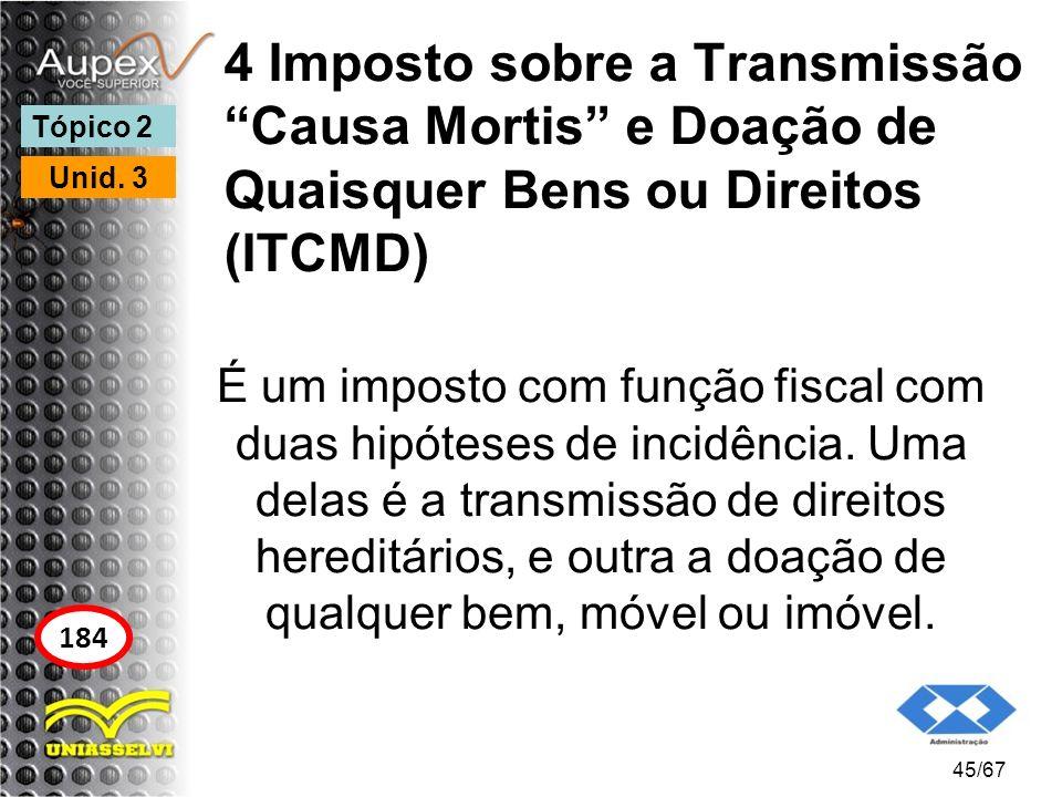 4 Imposto sobre a Transmissão Causa Mortis e Doação de Quaisquer Bens ou Direitos (ITCMD) É um imposto com função fiscal com duas hipóteses de incidên