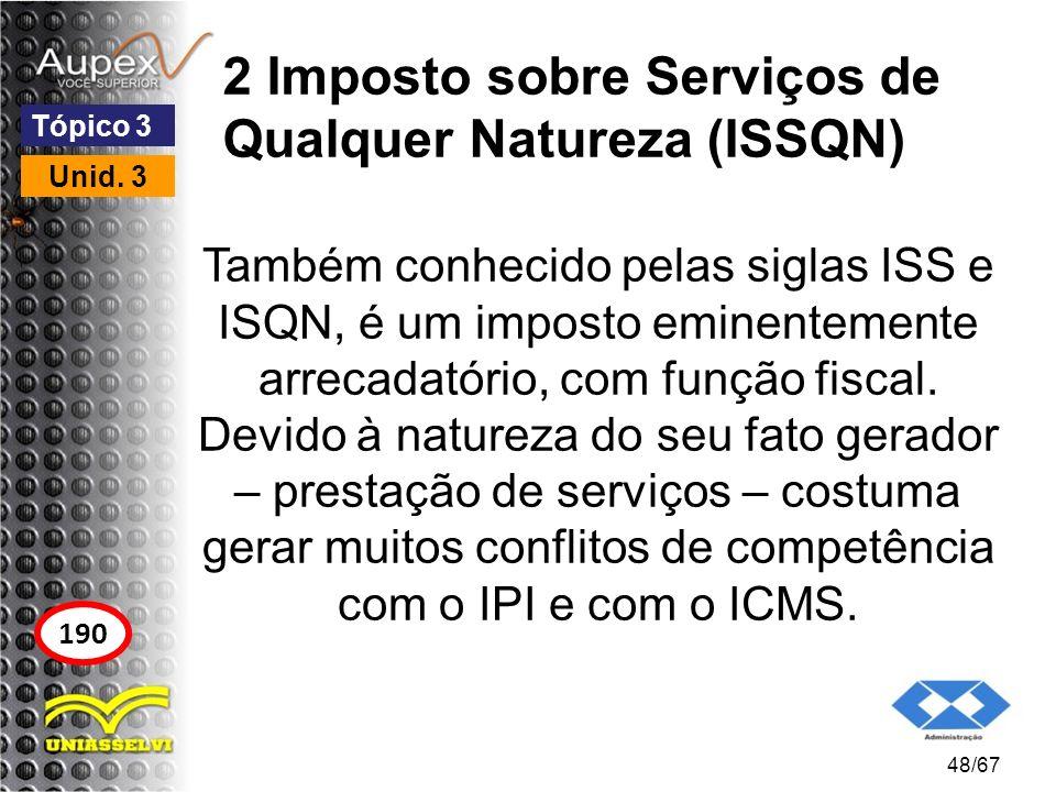 2 Imposto sobre Serviços de Qualquer Natureza (ISSQN) Também conhecido pelas siglas ISS e ISQN, é um imposto eminentemente arrecadatório, com função f