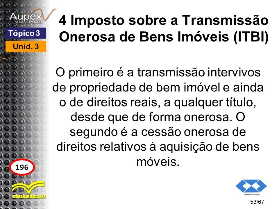 4 Imposto sobre a Transmissão Onerosa de Bens Imóveis (ITBI) O primeiro é a transmissão intervivos de propriedade de bem imóvel e ainda o de direitos