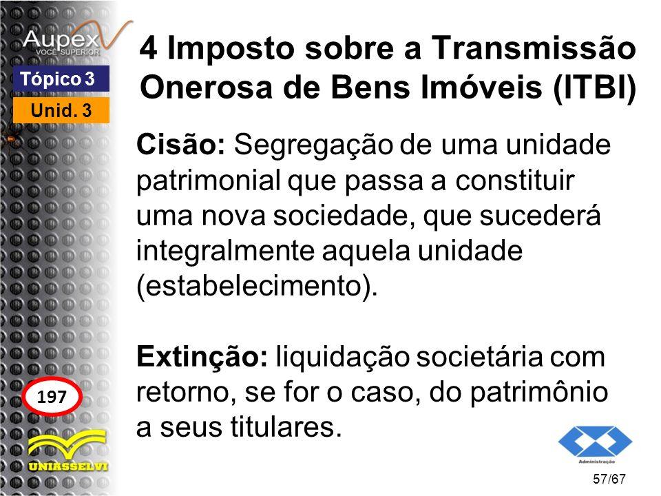 4 Imposto sobre a Transmissão Onerosa de Bens Imóveis (ITBI) Cisão: Segregação de uma unidade patrimonial que passa a constituir uma nova sociedade, q