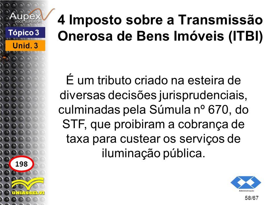 4 Imposto sobre a Transmissão Onerosa de Bens Imóveis (ITBI) É um tributo criado na esteira de diversas decisões jurisprudenciais, culminadas pela Súm