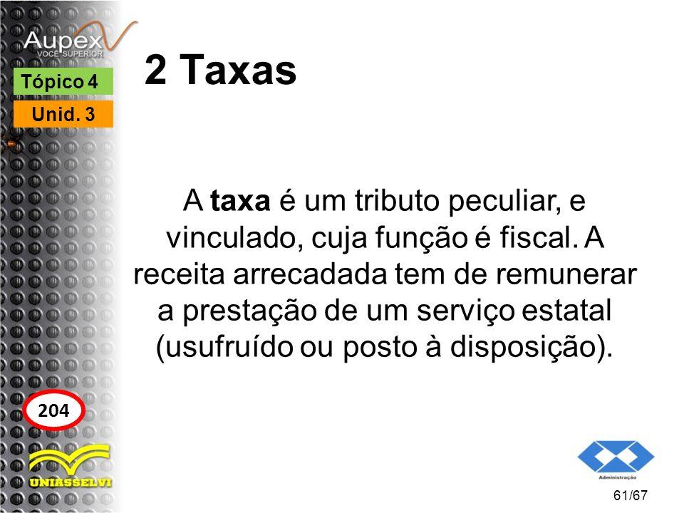 2 Taxas A taxa é um tributo peculiar, e vinculado, cuja função é fiscal. A receita arrecadada tem de remunerar a prestação de um serviço estatal (usuf