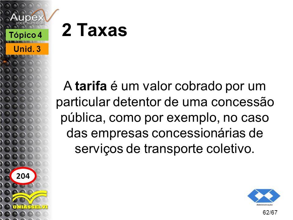 2 Taxas A tarifa é um valor cobrado por um particular detentor de uma concessão pública, como por exemplo, no caso das empresas concessionárias de ser