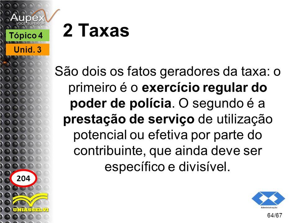 2 Taxas São dois os fatos geradores da taxa: o primeiro é o exercício regular do poder de polícia. O segundo é a prestação de serviço de utilização po