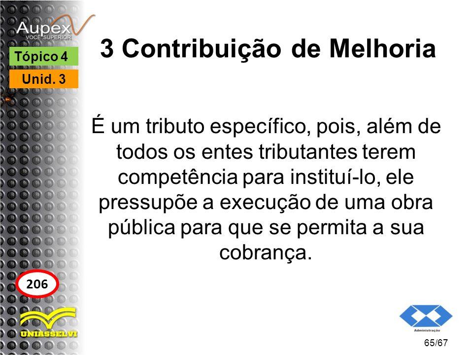 3 Contribuição de Melhoria É um tributo específico, pois, além de todos os entes tributantes terem competência para instituí-lo, ele pressupõe a execu