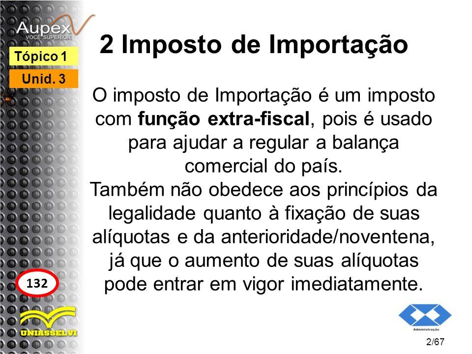 2 Imposto de Importação O imposto de Importação é um imposto com função extra-fiscal, pois é usado para ajudar a regular a balança comercial do país.