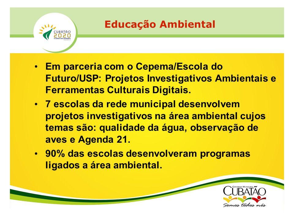 Em parceria com o Cepema/Escola do Futuro/USP: Projetos Investigativos Ambientais e Ferramentas Culturais Digitais. 7 escolas da rede municipal desenv