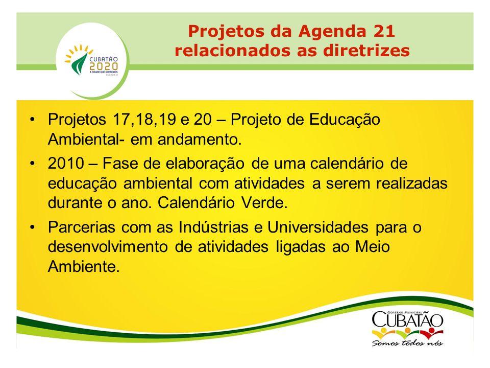 Projetos 17,18,19 e 20 – Projeto de Educação Ambiental- em andamento. 2010 – Fase de elaboração de uma calendário de educação ambiental com atividades