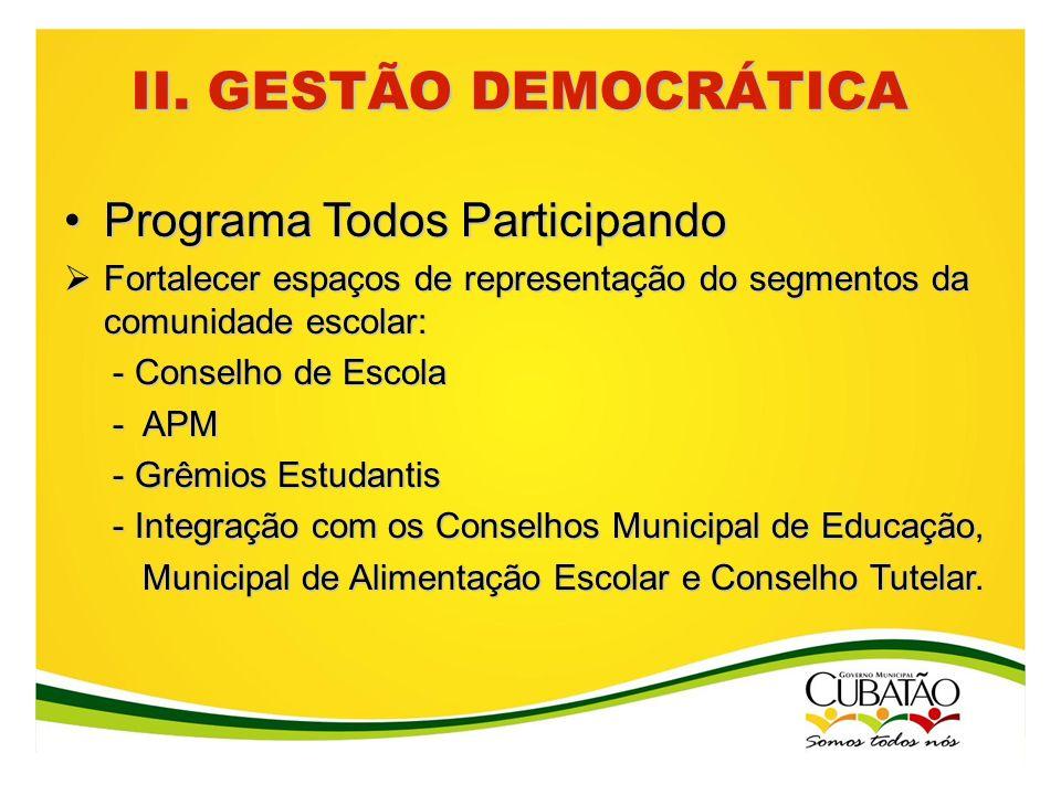 II. GESTÃO DEMOCRÁTICA Programa Todos ParticipandoPrograma Todos Participando Fortalecer espaços de representação do segmentos da comunidade escolar: