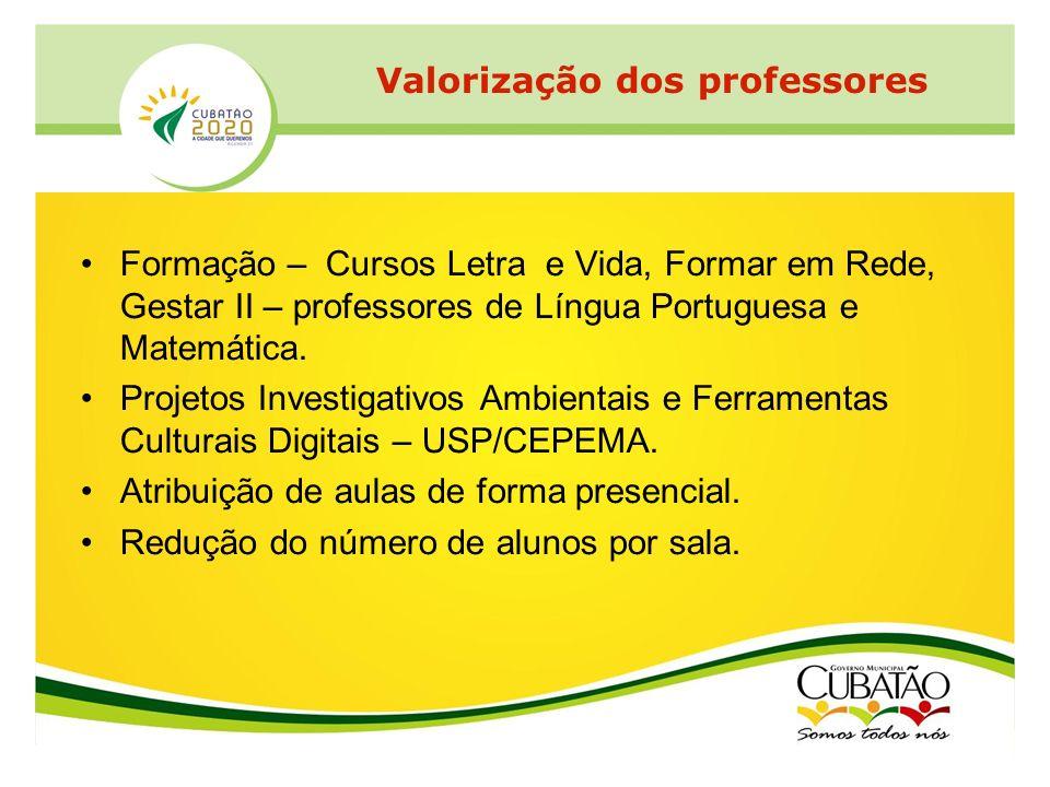 Formação – Cursos Letra e Vida, Formar em Rede, Gestar II – professores de Língua Portuguesa e Matemática. Projetos Investigativos Ambientais e Ferram