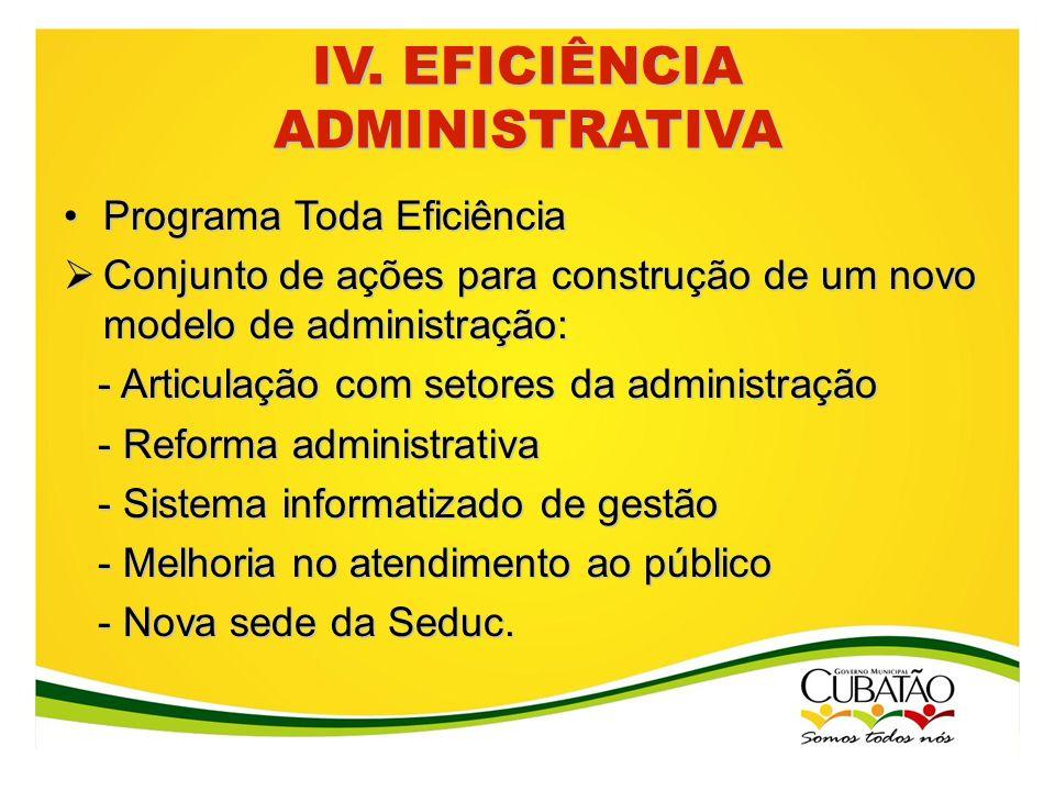 IV. EFICIÊNCIA ADMINISTRATIVA Programa Toda EficiênciaPrograma Toda Eficiência Conjunto de ações para construção de um novo modelo de administração: C