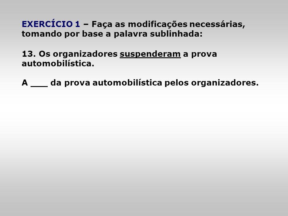EXERCÍCIO 1 – Faça as modificações necessárias, tomando por base a palavra sublinhada: 13. Os organizadores suspenderam a prova automobilística. A ___