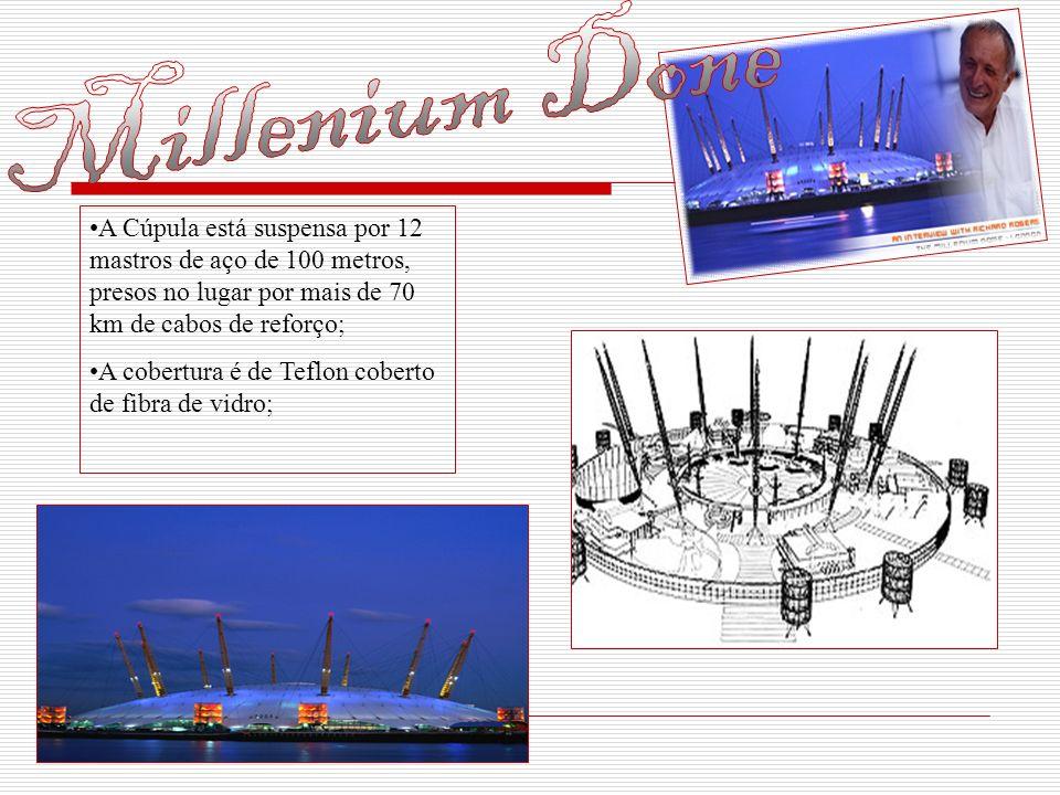 A Cúpula está suspensa por 12 mastros de aço de 100 metros, presos no lugar por mais de 70 km de cabos de reforço; A cobertura é de Teflon coberto de