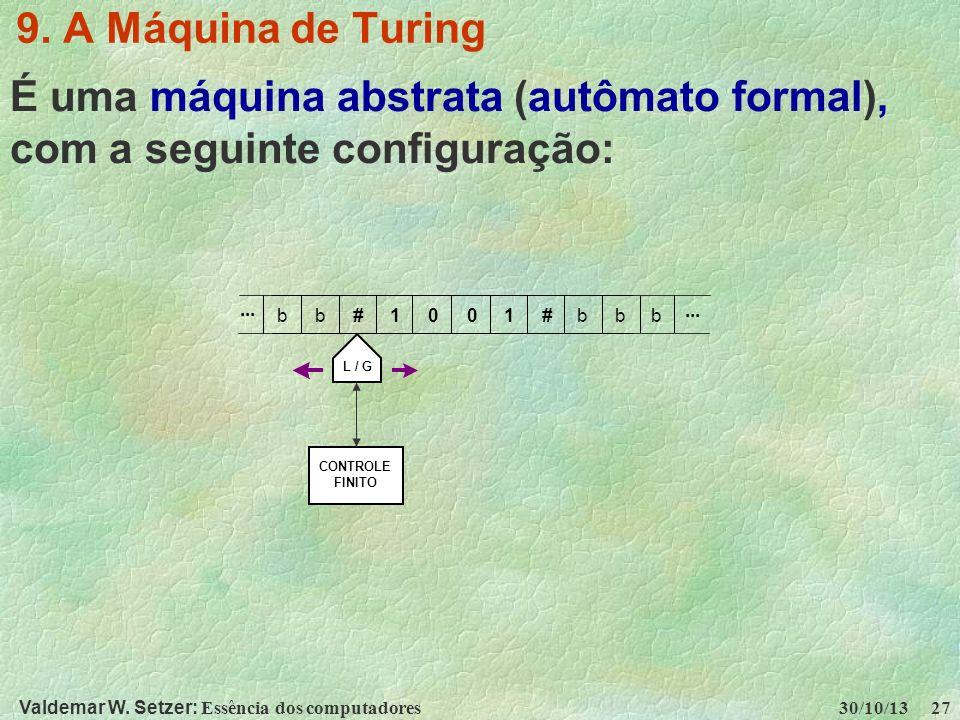 Valdemar W. Setzer: Essência dos computadores 30/10/13 27 9. A Máquina de Turing É uma máquina abstrata (autômato formal), com a seguinte configuração