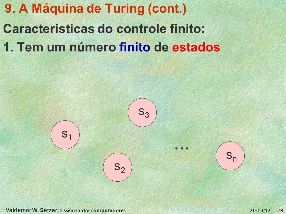 Valdemar W. Setzer: Essência dos computadores 30/10/13 28 9. A Máquina de Turing (cont.) Características do controle finito: 1. Tem um número finito d