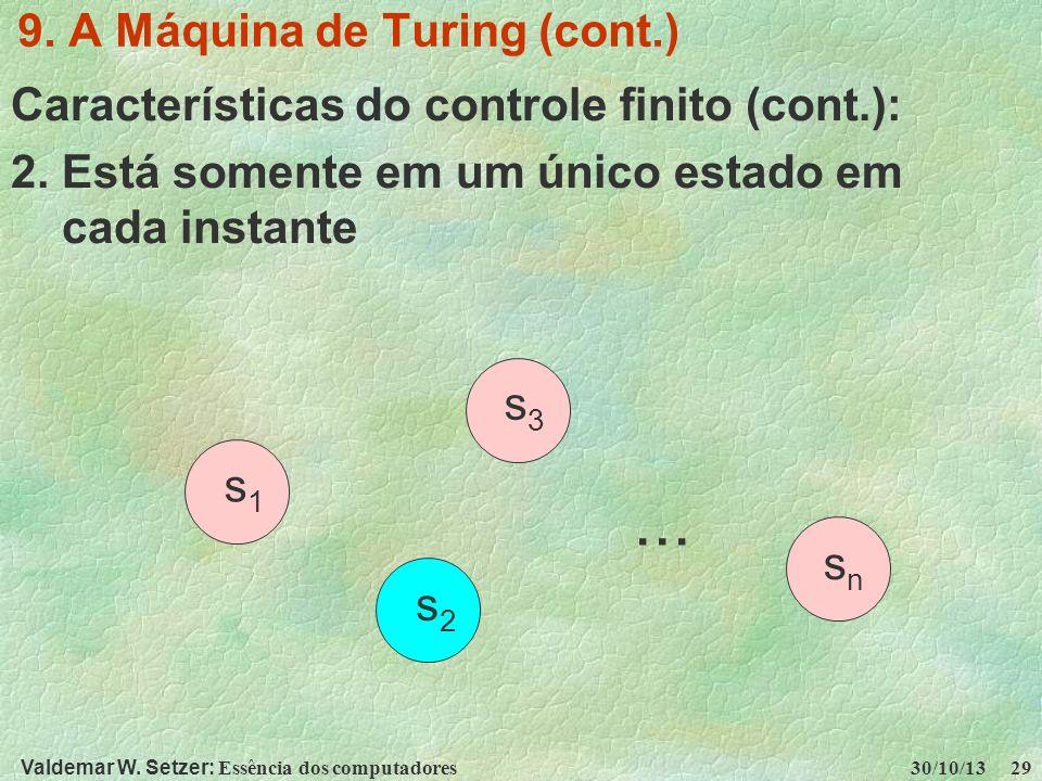 Valdemar W. Setzer: Essência dos computadores 30/10/13 29 9. A Máquina de Turing (cont.) Características do controle finito (cont.): 2. Está somente e