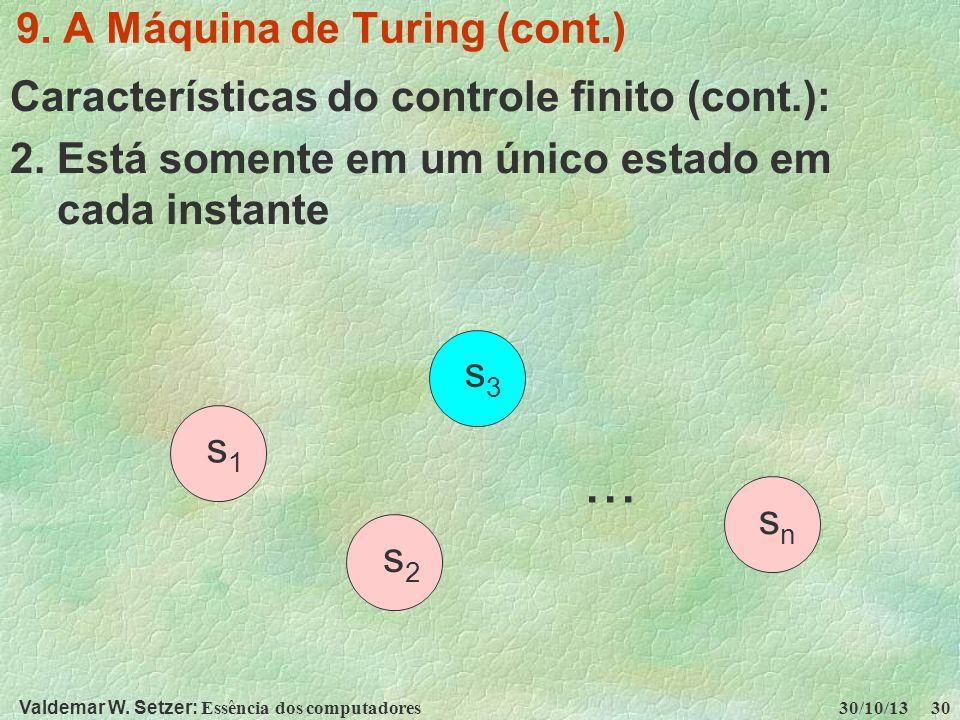 Valdemar W. Setzer: Essência dos computadores 30/10/13 30 9. A Máquina de Turing (cont.) Características do controle finito (cont.): 2. Está somente e