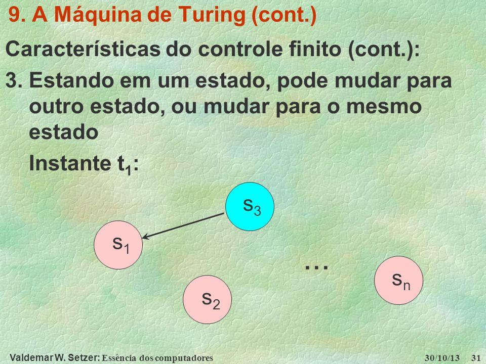 Valdemar W. Setzer: Essência dos computadores 30/10/13 31 9. A Máquina de Turing (cont.) Características do controle finito (cont.): 3. Estando em um
