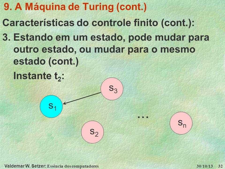 Valdemar W. Setzer: Essência dos computadores 30/10/13 32 9. A Máquina de Turing (cont.) Características do controle finito (cont.): 3. Estando em um