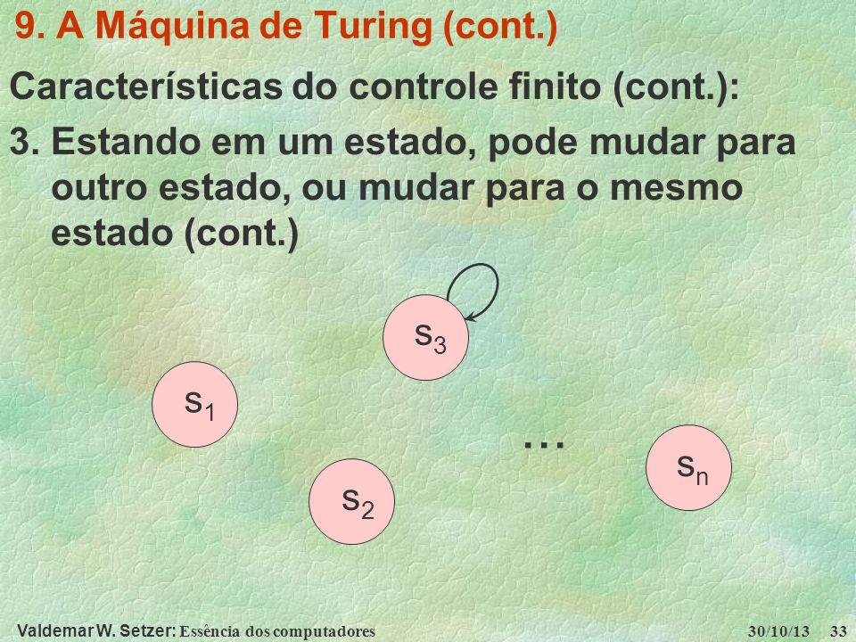 Valdemar W. Setzer: Essência dos computadores 30/10/13 33 9. A Máquina de Turing (cont.) Características do controle finito (cont.): 3. Estando em um