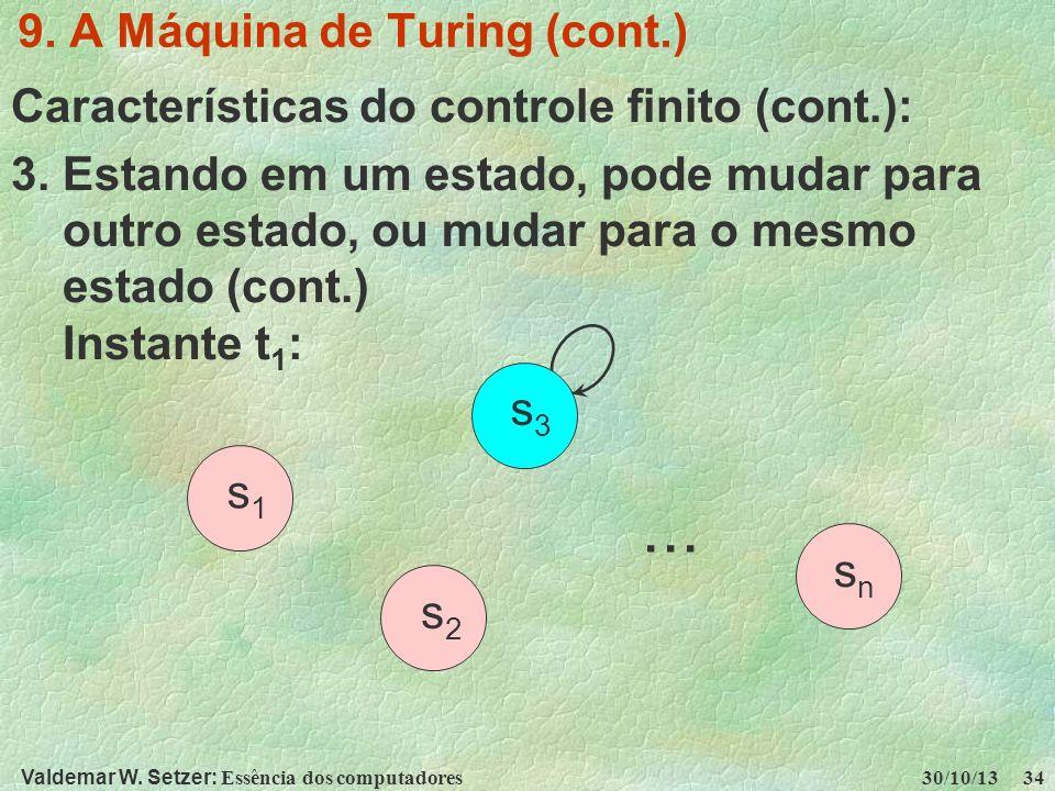 Valdemar W. Setzer: Essência dos computadores 30/10/13 34 9. A Máquina de Turing (cont.) Características do controle finito (cont.): 3. Estando em um