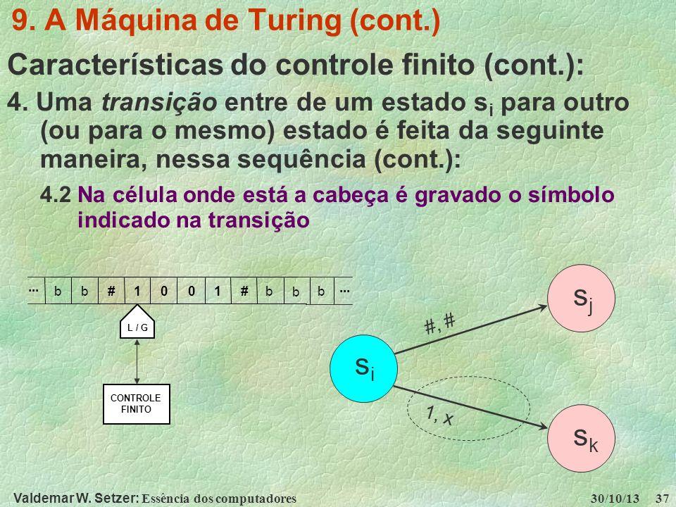 Valdemar W. Setzer: Essência dos computadores 30/10/13 37 9. A Máquina de Turing (cont.) Características do controle finito (cont.): 4. Uma transição